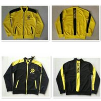 Wholesale 2016 Thailand high quality Dortmund jacket yellow yellow long sleeved football shirt jacket for