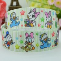 baby duck ribbon - quot mm Donald Duck baby Printed grosgrain ribbon hairbow DIY handmade clothing materials OEM yards