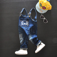 Wholesale autumn new casual blue denim jeans overalls baby girls clothes pants cute cat pattern