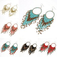 Wholesale Bohemian Style Seed Beads Circle Tassel Drop Dangle Hook Earrings personality Charms Womens Jewelry