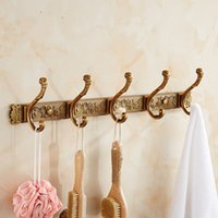 antique hat rack - European Retro hook wall shelf Metal Bronze Antique Alloy storage rack Wall Door Plastic hat clothes towel hanger home organizer