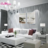 Wholesale Sliver Purple Wave Stripe Wallpaper Embossed TV Background Bedroom Living Room Non woven Flocking Wallpaper Home Decoration