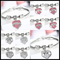 halloween charms - 45 types Diamond love Heart bracelet crystal family member Mom Daughter Grandma Teacher Believe Faith Hope best friend for women DHL