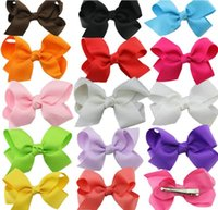 Wholesale Promotion Baby Girls colors Ribbon Hair Clips Bow Kids Bowknot Hairpins Hair Accessories Infants Hairclips