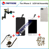 For Apple iPhone 5 LCD Screen Panels Black & White high quality for LCD Display Touch Digitizer+Complete Screen+home button+camera Full Assembly Replacement for iPhone 5 With Free Shipping