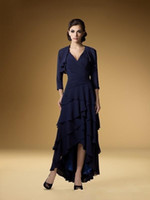 Wholesale 2016 High Low Mother Of The Bride Dresses With Jacket V Neck Chiffon Elegant Dark Navy Blue Tiered Chiffon Tea Length Mother s Dresses