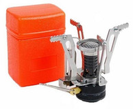 Wholesale Camping Stove Ultralight Backpacking Canister Mini Outdoor Backpacking Camp Stove with Piezo Ignition oz silvery Stove and orange box