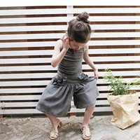 new design pants - New Arrival Sweet Kids Girls Ruffles Harem Pants Loose Design Pink and Gray Color Cotton Linen Pants