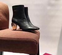 best designer boots - sale best quality U497 genuine leather gold heel short boots black white low med v luxury designer