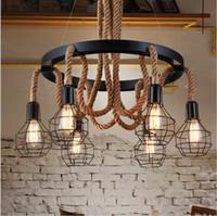 american lighting led rope light - 2016 Luxury Retro rope Industrial pendant Lights edison Vintage Restaurant Living bar Light American Style nordic fixtures lighting