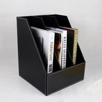 Wholesale 3 slot wooden leather desk file book document box shelf container filing organizer holder cabinet A4 back A
