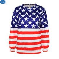 american flag sweatshirt - Sea mao Womens Long Sleeve Knitted Hoodies Casual Sweatshirt American Flag Digital Printing Leisure Wild Slim Was Thin Winter