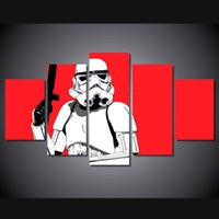 african figure painting - 5 Panel HD Printed star wars stormtrooper red Painting Canvas Print room decor print poster picture canvas african art wall decor