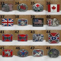 Wholesale 63 styles Confederate Southern South Rebel Flag Civil Flag Belt Buckles Civil War Flag Lebel Belt Buckles New Arrival