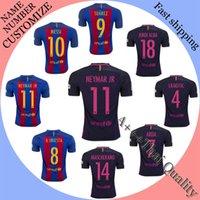 Wholesale Top thailand quality Barcelonaes football shirts Camiseta de Neymar JR Messi Suarez A Iniesta Maillot jersey