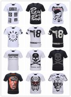 animal print beads - Summer Men S Fashion Brand PP Short Sleeve T Shirt Men Casual Solid Color High Quality Skulls Philipp Plein Sports Camisetas T Shirt