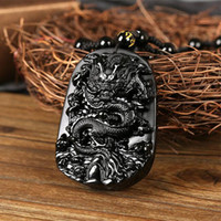 beautiful black angels - beautiful Chinese Handwork Black Obsidian Carved Dragon Amulet Lucky pendant necklace gift for men and women