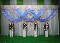 Precio de Cielo azul de la tela de lentejuelas-Cortina de telón de fondo de la boda del color blanco con el color de Swag del azul de cielo drapea y la tela de lentejuelas de plata