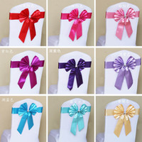 Wholesale Butterfly self tie chair sashes Elastic Chair Cover Sashes Band colorful Ribbons Bow Wedding decoration Banquet Venue Decorations supples