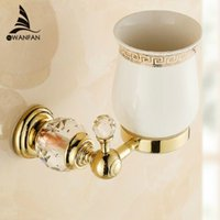 Wholesale Golden Crystal Brass Glass Bathroom Accessories Single cup Tumbler Holders Toothbrush Cup Holders HK k