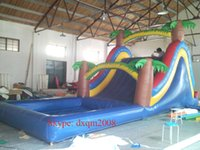 amusement park slides - PVC inflatable sports game inflatable slide and pool for amusement park outdoor inflatable slide
