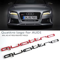 Wholesale 3D Quattro Emblem Logo Sign Car Front Bumper Lower Grills Trim RS Styling Sticker For Audi A4 A5 A6 A7 RS3 RS5 RS6 RS7 Q3 Q5 Q7