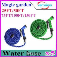Wholesale 5PCS HOSE Expandable Flexible Water Garden Hose Flexible Water Hose with valve and Spray Nozzle ZY SG