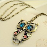 Wholesale 2016 Retro Vintage Color Necklace Block Drill Hollowing Carved Cute Owl Pendant Necklace Jewelry Gift