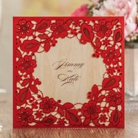 Wholesale Chinese Red Laser Cut Embossing Shiny Flowers Wedding Invitations Cards By Wishmade CW5280