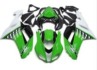 Wholesale 3 Free gifts New ABS Full Fairing Kits Fitment For KAWASAKI Ninja ZX6R ZX R R Bodywork set green white