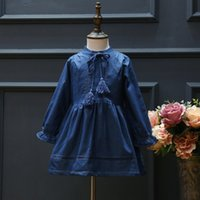 autumn winter collection - Fashion New Collection Baby Girls Denim Fleece Casual Dress Flare Sleeve Hollow Out Casual Ruffles Girls Dress