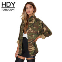 Wholesale HDY Haoduoyi Woman Fashion Autumn Camo Stand Collor Long Sleeve Loose Punky Adjustable Waist Longline Oversize Outwear Jackets