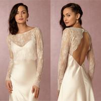 Wholesale Elegant Ivory Lace Long Sleeve Bolero Jacket Wedding Dress Backless For Wedding Bridal Accessories Custom Made EN4095