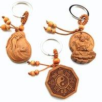 ball transfers - Fashion carved peach wooden key chain gossip transfer fortune wood key chains pendant key chain high quality