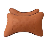 car pillow - 2pcs car pillow hole digging winter car headrest leather auto supplies neck pillow PU leather Warm Auto safety pillow Brown