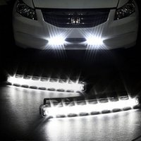 Wholesale 8 LED Super Bright White DRL Car Daytime Running Light Head Lamp Universal IP67 Waterproof Day Lights pair