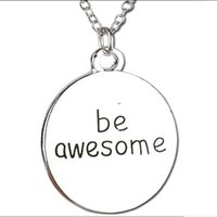 awesome card - 12pcs jewelry silver plated alloy punk encourage excitation praise round card Lettering be awesome pendant necklace women Hot x234