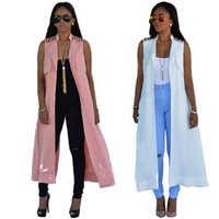 Wholesale Hot Sale New Women Summer Outerwear Coat Pink White Open Stitch Long Jackets Back Split Fashion Women Sleeveless Jackets Outerwear WE70140
