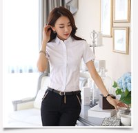 Wholesale female white shirt for sale OL favorite camisole fashional Korean style short sleeve