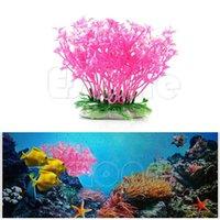 Wholesale New Pink Aquatic Dwarf Plastic Flower Plant Ornament For Aquarium Fish Tank