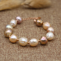 Wholesale natural Cultured freshwater irregular baroque pearl Bracelets women fine pearl jewelry inches