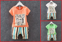 age worsted - 2016 boys summer suits cartoon short sleeve striped shorts baby fashion clothes aged cheap kids clothes set A28