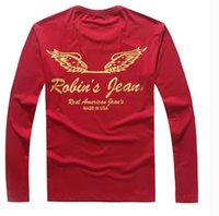 Wholesale Mens Robin jeans t shirts clothing for Autumn High quality Real american jeans shirts Spring Hot cotton long sleeve t shirts tees for men