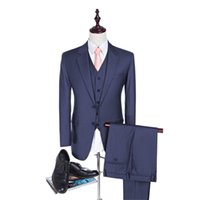 best suits for men - High Quality New Navy Blue Groom Tuxedos Mans Prom Suits Wedding Suit For Men Best Man Tuxedos Slim Fit Back Vent Pieces