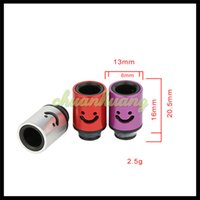 aluminum air tanks - Aluminum Drip tips Smile Face Mouthpiece Adjustable Airflow Drip Tip Air Control Drip Tips fit Ecigarette RTA RDA Atomizer Tank