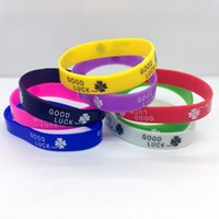 Wholesale Good Luck Silicone Bracelet Mens Womens Silicone Wristband Elastic Bracelet Friendship Cuff Colors Party Gift Jewelry