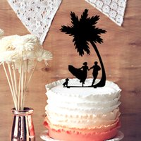 Table Centerpieces beach party centerpieces - Wedding Cake Topper Bride and Groom with Dog Running Rustic Palm Tree Beach Wedding Cake Topper Silhouette