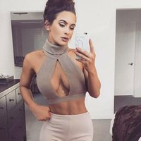 Wholesale women knit crop top sexy hollow high collar summer fitness fashion vest sleeveless casual tank tops halter top plus size Top