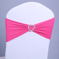 Wholesale 100 DHL finished edge spandex lycra chair bands elastic chair sash with buckle for wedding