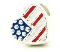 al por mayor 5mm ovalada-¡Envío gratis! El encanto europeo de corazón de los granos de plata del tono de la bandera americana del esmalte 12x11mm, agujero: 5 mm aprox, 20PCs (B25773)